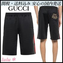 GUCCI Stripes Plain Cotton Joggers Shorts