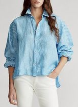POLO RALPH LAUREN Stripes Casual Style Linen Long Sleeves Off the Shoulder