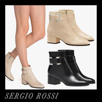 Sergio Rossi Casual Style Plain Leather Block Heels Office Style