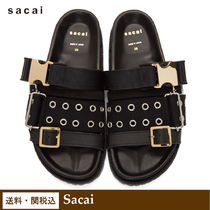 sacai Open Toe Round Toe Rubber Sole Casual Style Leather