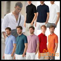 HERMES Pullovers Street Style Plain Cotton Short Sleeves Polos