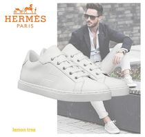 HERMES Stripes Leather Sneakers