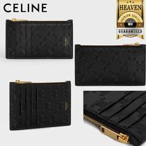 CELINE Zipped Compact Card Holder In Embossed Smooth Calfskin