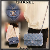 CHANEL ICON Casual Style Unisex Canvas Denim 3WAY Chain Plain