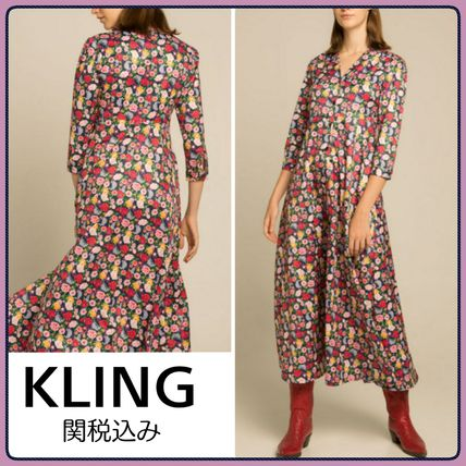 Flower Patterns Casual Style V-Neck Long Sleeves Long
