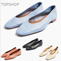 TOPSHOP Square Toe Casual Style Plain Leather Block Heels