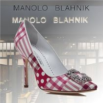 Manolo Blahnik Gingham Stripes Dots Casual Style Blended Fabrics Leather
