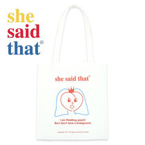 she said that Casual Style Unisex Canvas Street Style A4 Plain Totes