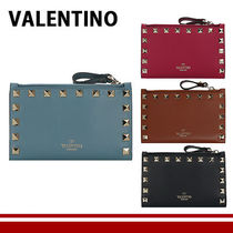 VALENTINO Unisex Calfskin Studded Plain Leather Folding Wallet