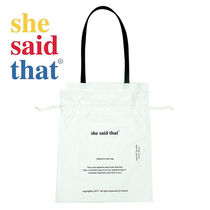 she said that Casual Style Unisex Street Style A4 Plain Purses Bucket Bags