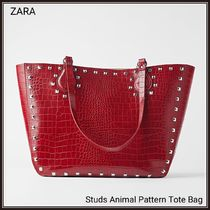 ZARA Studded Bag in Bag A4 Other Animal Patterns Totes