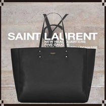 Saint Laurent CABAS Casual Style Unisex Lambskin 2WAY Leather Office Style