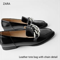 ZARA Chain Plain Leather Loafer & Moccasin Shoes