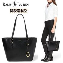 LAUREN RALPH LAUREN Casual Style A4 Plain Leather Office Style Totes