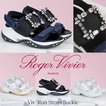 Roger Vivier Open Toe Platform Rubber Sole Casual Style Blended Fabrics