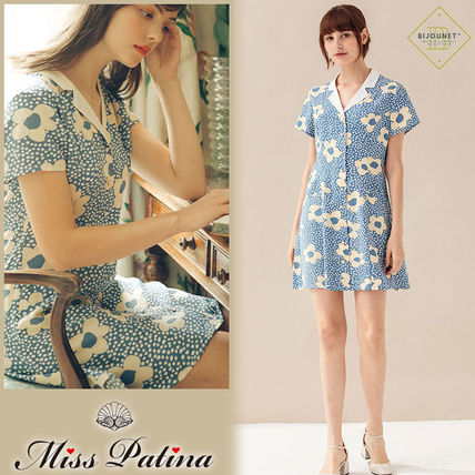 Short Flower Patterns Dots Casual Style A-line Short Sleeves