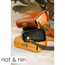 nat&nin Casual Style Plain Leather Elegant Style Shoulder Bags