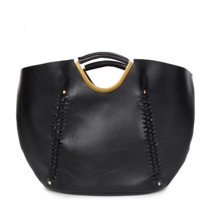 Casual Style A4 Leather Office Style Elegant Style Totes