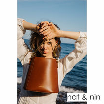 nat&nin Casual Style 2WAY Plain Leather Shoulder Bags