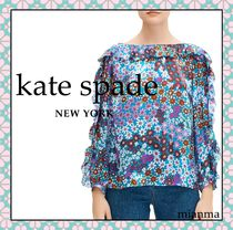 kate spade new york Flower Patterns Casual Style Silk Long Sleeves Party Style