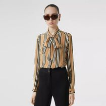 Burberry Stripes Casual Style Silk Long Sleeves Medium Elegant Style