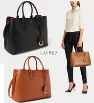 Ralph Lauren A4 Plain Leather Office Style Elegant Style Totes