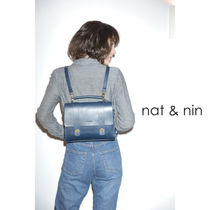 nat&nin Casual Style 3WAY Plain Leather Backpacks