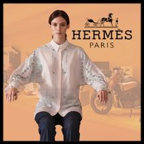 HERMES Silk Dolman Sleeves Long Sleeves Long Office Style