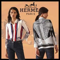 HERMES Silk Long Short Sleeves Party Style Elegant Style