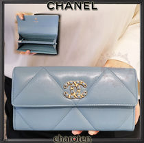 CHANEL ICON Unisex Chain Plain Leather Long Wallets
