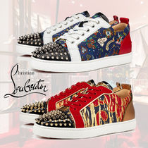 Christian Louboutin LOUIS Blended Fabrics Studded Leather Sneakers
