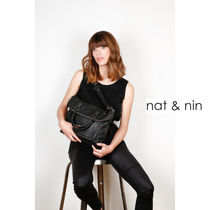 nat&nin Casual Style A4 2WAY Plain Leather Office Style