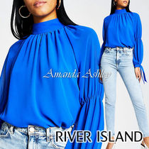 River Island Casual Style Long Sleeves Plain Party Style Puff Sleeves