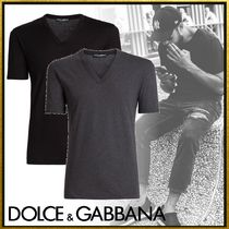 Dolce & Gabbana Pullovers Street Style V-Neck Plain Cotton Short Sleeves
