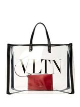 VALENTINO Casual Style A4 Crystal Clear Bags PVC Clothing Totes