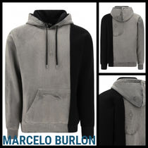 Marcelo Burlon Bi-color Long Sleeves Cotton Oversized Hoodies