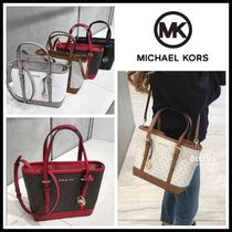 Michael Kors JET SET TRAVEL Monogram Casual Style Saffiano A4 2WAY Plain Office Style