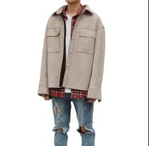 URKOOL Stand Collar Coats Unisex Suede Blended Fabrics Street Style
