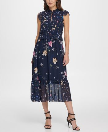 Flower Patterns Casual Style Maxi High-Neck Elegant Style