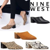 Nine West Leopard Patterns Casual Style Suede Plain Leather