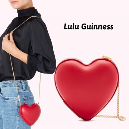 Lulu Guinness Shoulder Bags Casual Style 2WAY Chain Plain Leather Party Style