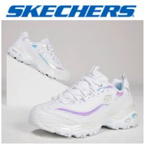 SKECHERS Round Toe Rubber Sole Casual Style Street Style Plain