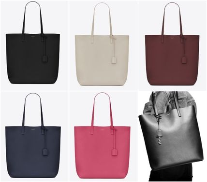 A4 Plain Leather Logo Totes