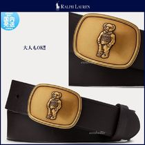 Ralph Lauren Unisex Plain Leather Logo Belts
