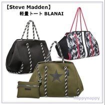 Steve Madden Star Camouflage Casual Style Unisex A4 Plain Khaki Totes