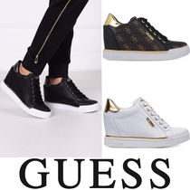 Guess Monogram Wedge Casual Style Faux Fur Street Style Plain