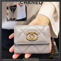 CHANEL ICON Unisex Chain Plain Leather Folding Wallet Small Wallet