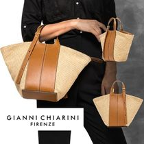 GIANNI CHIARINI Casual Style Blended Fabrics Leather Office Style Totes