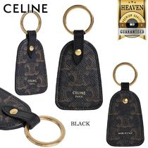 CELINE Key Holder In Triomphe Canvas And Calfskin