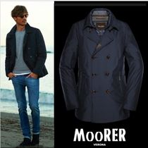 MOORER Short Blended Fabrics Plain Peacoats Coats